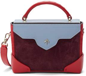 Burgundy/Marlboro Red/Ice Blue 'Bold Combo' micro colourblock leather and suede box bag