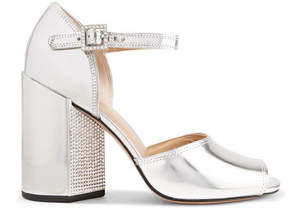 Marc Jacobs Kasia Crystal-embellished Metallic Leather Sandals - Silver