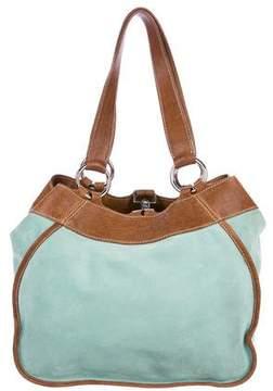 Miu Miu Leather-Trimmed Suede Bag