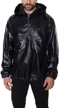Diesel Black Gold Men's Black Leather Outerwear Jacket.
