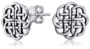 Celtic Bling Jewelry Round Knot Shield Stud Earrings 925 Sterling Silver 9mm.