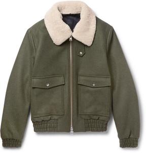 Ami Shearling-Trimmed Wool-Blend Bomber Jacket