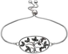 Brilliance+ Brilliance Silver Plated Marcasite Family Tree Bolo Bracelet