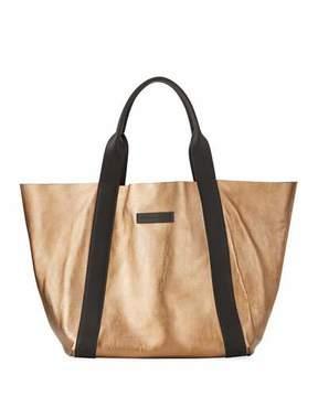 Brunello Cucinelli Reversible Metallic Tote Bag, Gold