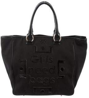 Anya Hindmarch Patent Leather-Trimmed Canvas Bag