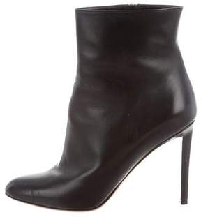 Christian Dior Leather Round-Toe Ankle Boots
