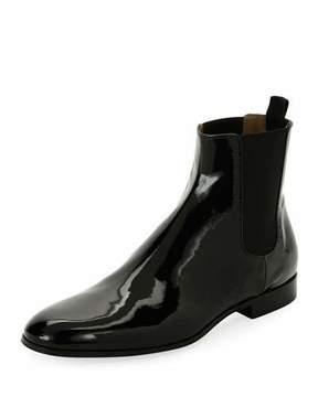 Gianvito Rossi Alain Men's Patent Leather Chelsea Boot, Black