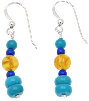 Lapis Mine Finds by Jay King Jay King Jay Turquoise, Amber and Sterling Silver Drop Earrings