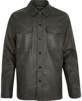 River Island Mens Dark green leather look shirt jacket