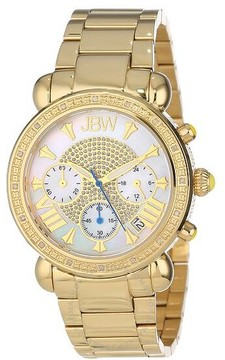 JBW Victory White Mother of Pearl Pave Dial Chronograph Diamond Ladies Watch