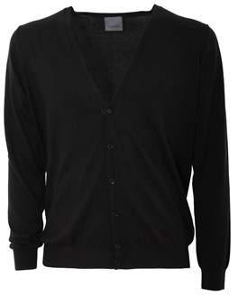 Laneus Men's Black Silk Cardigan.