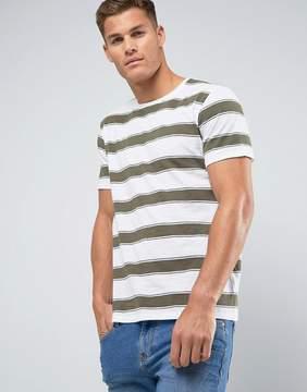 MANGO Man Striped T-Shirt In Khaki