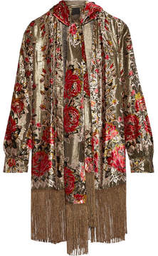 Anna Sui Fringed Flocked Lamé Jacket - Burgundy