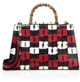 Gucci Large Nymphea Snakeskin Top-Handle Bag - BIANCOROSA - STYLE