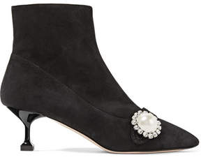 Miu Miu Crystal And Faux Pearl-embellished Suede Ankle Boots - Black