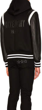 Givenchy Hooded Leather & Neoprene Bomber