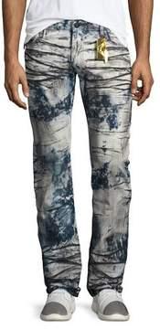 Robin's Jeans Heavy-Dyed Skinny Moto Jeans, Indigo/Black/White
