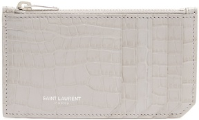 Saint Laurent Fragments crocodile-effect leather cardholder - LIGHT GREY - STYLE
