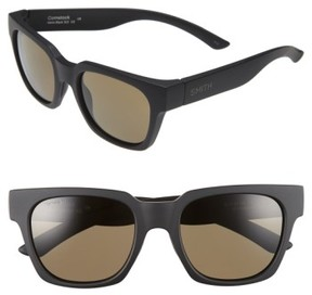 Smith Women's 'Comstock' 52Mm Rectangular Sunglasses - Matte Black/ Grey Green Polar