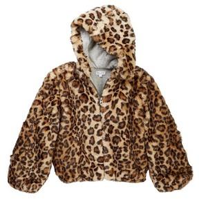 Splendid Leopard Faux Fur Hooded Jacket (Toddler Girls)