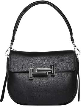 Tod's Double T Crossbody Bag In Grained Black Leather