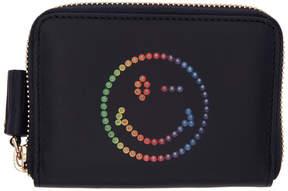 Anya Hindmarch Navy Small Rainbow Wink Round Zip Wallet