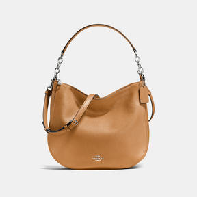COACH CHELSEA HOBO 32 IN POLISHED PEBBLE LEATHER - SILVER/LIGHT SADDLE