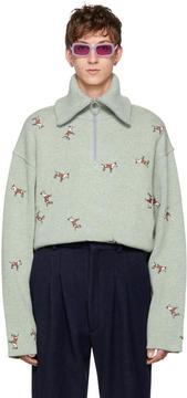 Acne Studios Green Nicolai Dog Sweater