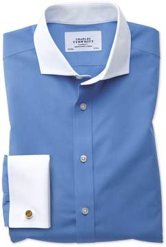 Charles Tyrwhitt Extra Slim Fit Spread Collar Non-Iron Winchester Blue Cotton Dress Shirt Single Cuff Size 14.5/32