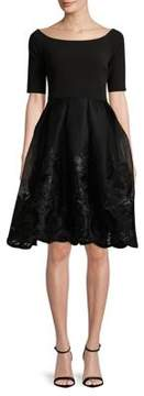 Betsy & Adam Embroidered A-Line Dress