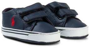 Ralph Lauren Navy Leather Logo Slater EZ Velcro Crib Shoes