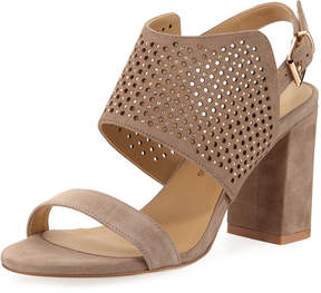 Neiman Marcus Brae Perforated Suede Sandals, Brown