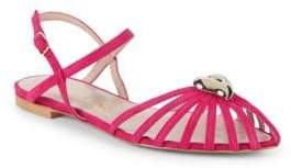 Aperlaï Heart Leather Ankle-Strap Sandals