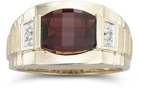 JCPenney FINE JEWELRY Mens Garnet & Diamond 10K Gold Ring