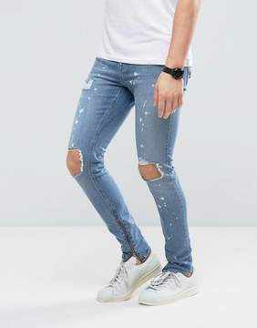 New Look Super Skinny Jeans With Rips And Side Zips In Spray Acid Wash