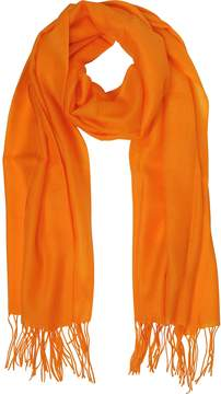 Mila Schon Orange Wool and Cashmere Fringed Stole