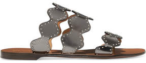 Chloé Lauren Scalloped Embellished Metallic Leather Slides - Gunmetal