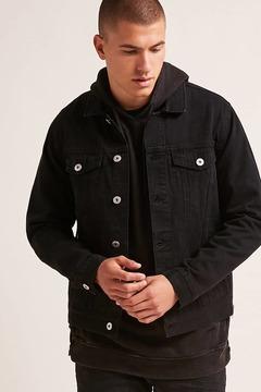21men 21 MEN Zippered Denim Jacket