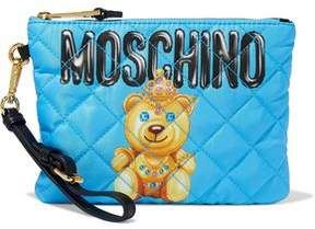 Moschino Quilted Printed Satin-Twill Clutch