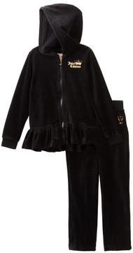 Juicy Couture Black Velour Ruffle Bottom Hoodie & Pant Set (Toddler Girls)