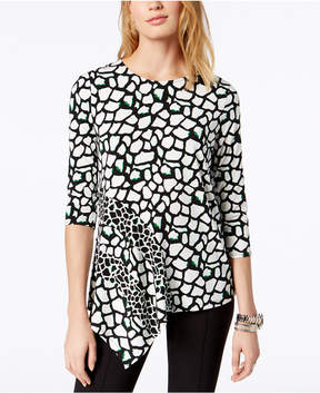Alfani Printed Asymmetrical Top, Created for Macy's