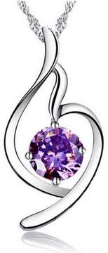 Alpha A A Designer Inspired Distorted Heart Necklace With CZ Purple Necklace