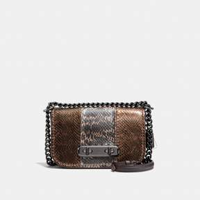 COACH Coach Swagger Shoulder Bag 20 In Metallic Striped Mixed Snakeskin - DARK GUNMETAL/METALLIC MULTI - STYLE