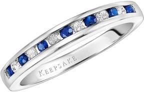 Keepsake Juniper 1/2 Gemstone T.W. Certified Diamond and Sapphire Sterling Silver Wedding Band