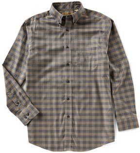 Roundtree & Yorke Gold Label Big & Tall Non Iron Long-Sleeve Heather Checked Sportshirt