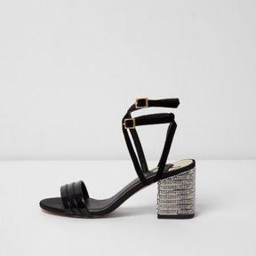 River Island Womens Black strappy rhinestone block heel sandals