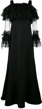 Alberta Ferretti Floor Length Gown with Lace Sleeves