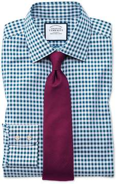 Charles Tyrwhitt Classic Fit Non-Iron Gingham Teal Cotton Dress Shirt Single Cuff Size 15.5/34