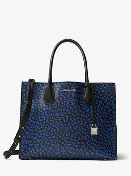 Michael Kors Mercer Leopard Leather Tote - BLACK - STYLE