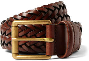 Andersons Anderson's 3.5cm Brown Woven Leather Belt